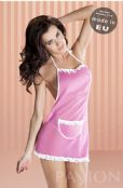 'Passion Lingerie' Judita Pink Cleaner Fancy Dress with Matching Thong UK 14-16